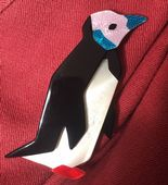 LEA STEIN King Penguin Brooch - Lilac Face, Blue Beak and Red Flippers!( SOLD)